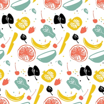 Fruit pattern with pear, banana, citrus and pomegranate. healthy lifestyle eating. farmers market. blue, red and yellow