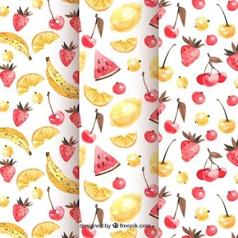 水彩様式のフルーツパターン