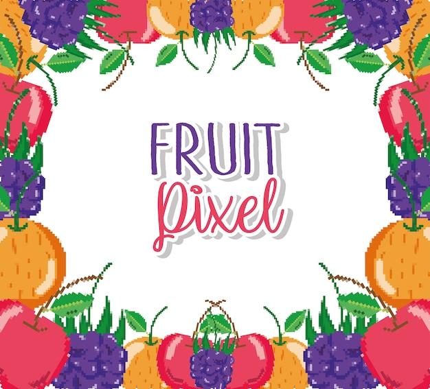 Fruit pixel cartoons