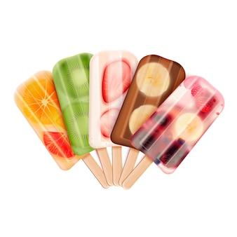 Composizione realistica dell'assortimento di gelati di ghiaccioli di frutta con immagini della gamma di prodotti dolciari di ghiaccioli