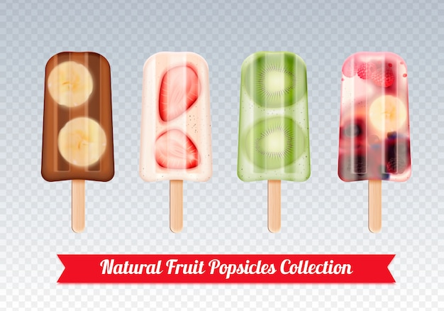 Fruit popsicles ice cream realistic set of frozen fruity ice cream stick confection images on transparent
