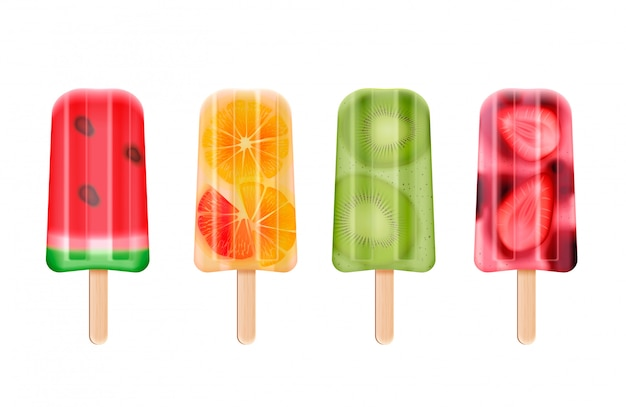 Fruit popsicles ice cream realistic set of isolated frozen stick confection images on white