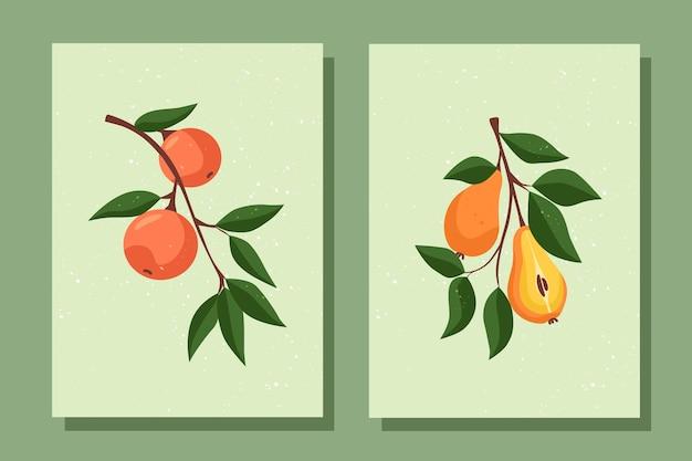 배와 오렌지 분기와 과일 포스터 세트 분기