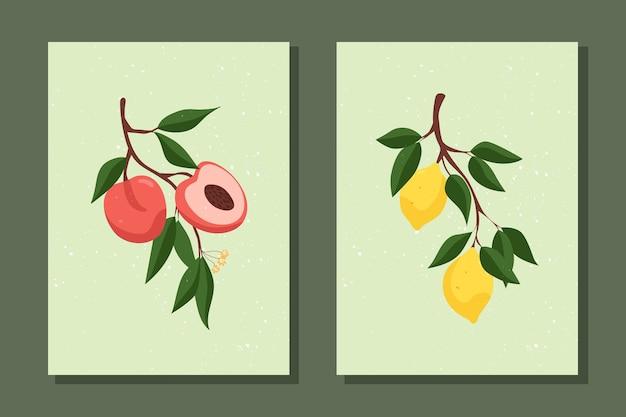 과일 포스터 세트 복숭아가 있는 지점 레몬이 있는 지점