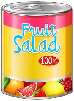 Fruit salad in aluminum can