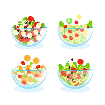 Fruit and salad bowls arrangement