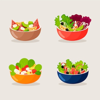 Fruit and salad bowls collection