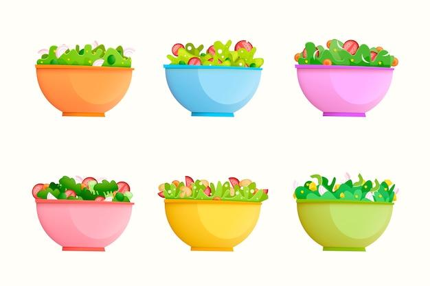 Fruit and salad bowls concept