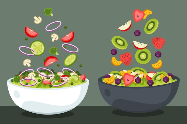 Fruit and salad bowls concept