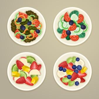 Concetto di ciotole di frutta e insalata