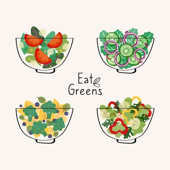 Fruit and salad bowls flat design