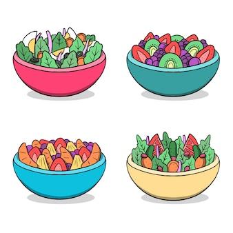 Fruit and salad bowls hand drawn design