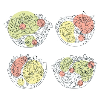 Fruit and salad bowls hand drawn design