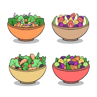 Fruit and salad bowls hand drawn style