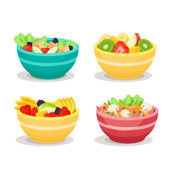 Fruit and salad bowls set