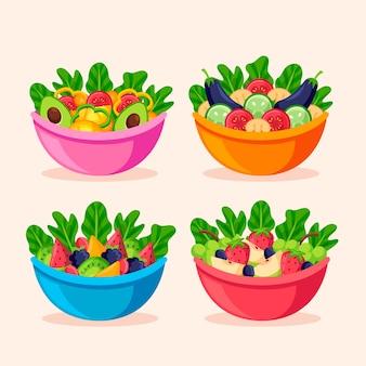 Fruit and salad bowls