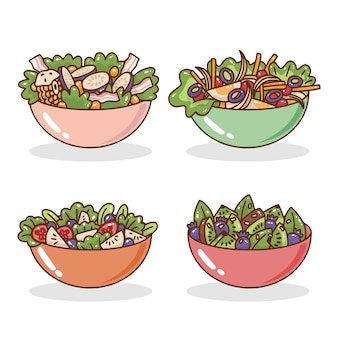 Fruit and salad bowls