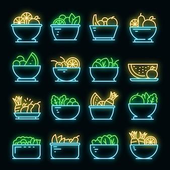 フルーツサラダのアイコンを設定します。黒のフルーツサラダベクトルアイコンネオン色のアウトラインセット