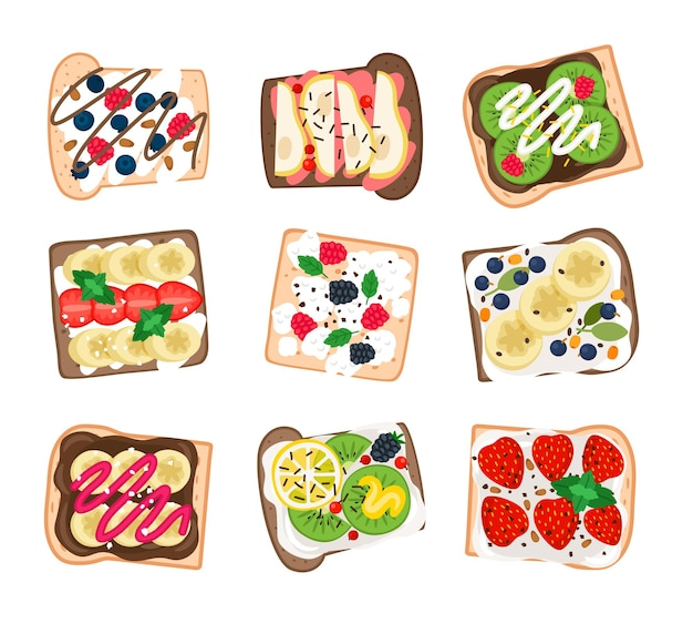 フルーツサンドイッチセット。新鮮なミントとバナナ、レモンとキウイ、イチゴと梨、白い背景で隔離のおいしいハンバーガーのベクトルイラストと漫画のハンバーガー