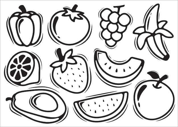 Каракули фрукты каракули