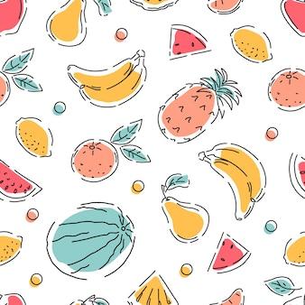 과일 완벽 한 패턴입니다. 기하학. 추상 스타일입니다. 벡터 배경입니다.