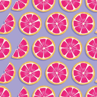 Fruit seamless pattern, grapefruit slices with shadow on purple background. exotic tropical fruit.