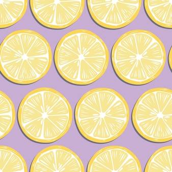Fruit seamless pattern, lemon slices with shadow on purple background. exotic tropical fruit.
