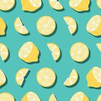 과일 완벽 한 패턴, 밝은 녹색 배경에 그림자와 레몬. 이국적인 열대 과일.