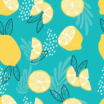 Fruit seamless pattern, lemons with tropical leaves and abstract elements on bright blue background. exotic tropical fruit.