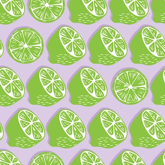 Fruit seamless pattern, lime halves and slices with shadow on light purple background. exotic tropical fruit.