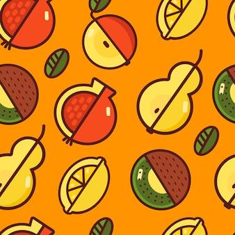 Фруктовый бесшовный узор на оранжевом