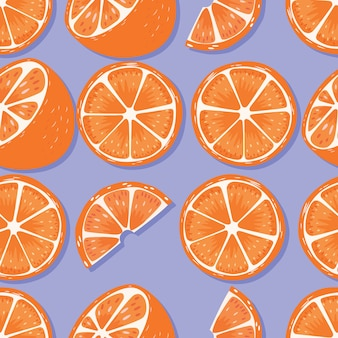 Fruit seamless pattern, oranges with shadow on purple background. exotic tropical fruit.