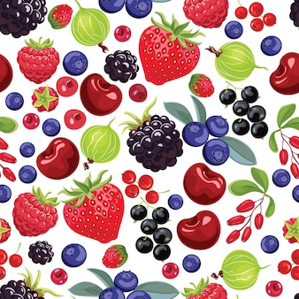 Fruit seamless pattern with strawberries, berries and grapes