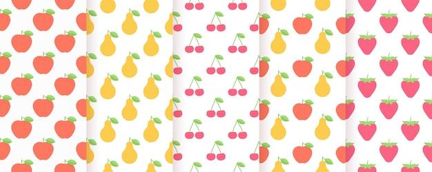 フルーツのシームレスなパターン。夏のプリントセット