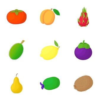 Fruit set, cartoon style