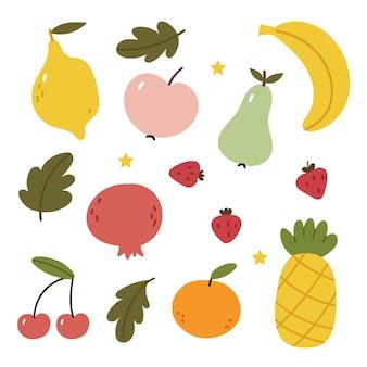 Fruit setlemon pear banana apple strawberry pineapple pomegranate peach tangerine Premium Vector