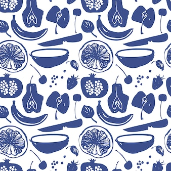 Fruit silhouettes  pattern in blue color. pear, apple, cherry, strawberry, banana, pomegranate, lemon