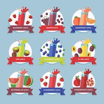 Коллекция фруктовых смузи. элемент меню для кафе или ресторана с энергичным свежим напитком в стиле. свежевыжатый сок для здорового образа жизни. органические сырые коктейли.