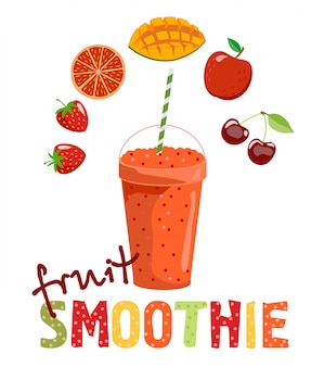 Fruit smoothie. detox cocktail. healthy lifestyle.   illustration. can be used for menu, cafe, restaurant, bar. smoothies and fruits of which it is made.