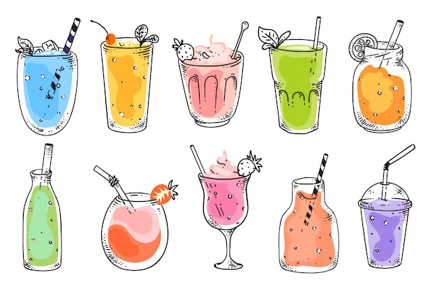 Fruit smoothie. natural vegetarian fruit cocktail refreshments in glasses. isolated vitamin drink for diet nutrition. smoothie beverages in cups with straws, strawberries sketch illustration