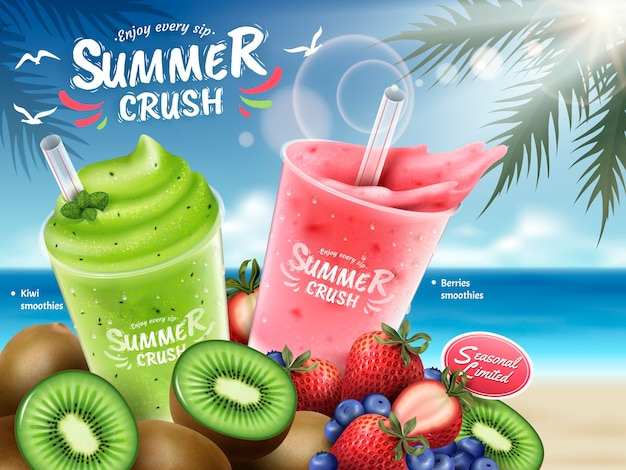 Fruit smoothies ads, kiwi and berries smoothie cup and bunch of fruits isolated on bokeh beach background