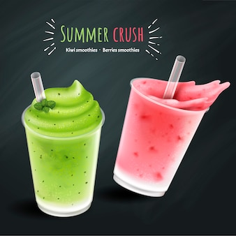 Fruit smoothies mockup, kiwi and berries smoothie cup isolated on chalk board background
