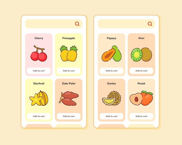 일부 과일이 포함 된 모바일 앱 템플릿 화면 디자인을위한 과일 가게 ui 또는 ux 디자인