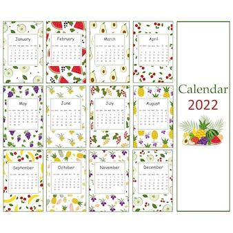 Fruit summer calendar for 2022 from fruit patterns for vegans, color vector illustration.