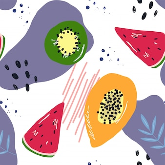 Fruit summer pattern and shapes