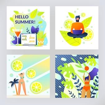 Fruit sunny set flyer is written hello summer