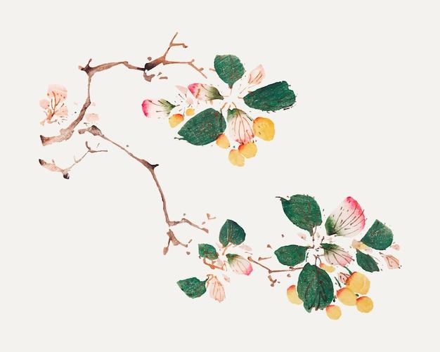 Fruit vector botanical art print, remixed from artworks by hu zhengyan