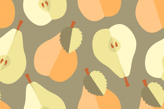 Fruit vector seamless pattern. light yellow, peach, beige natural whole and halves pears with seeds