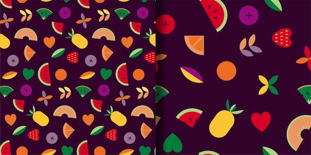 과일 벡터 원활한 패턴 설정 잎 과일과 열매와 추상 장식품