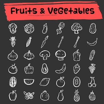 Fruit and vegetable doodle icon set